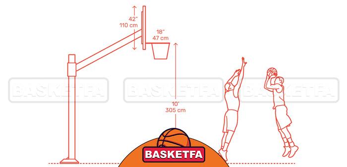 ارتفاع استاندارد حلقه بسکتبال برابر با ده فوت است
