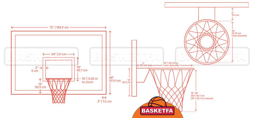 اندازه استاندارد تخته و حلقه در تمامی زمینهای بسکتبال
